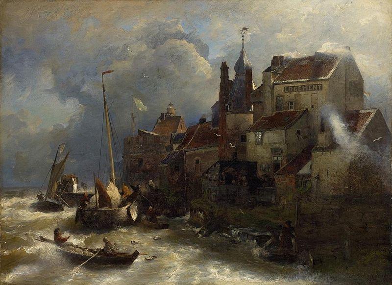 Küstenlandschaft mit Stadtansicht, 1875