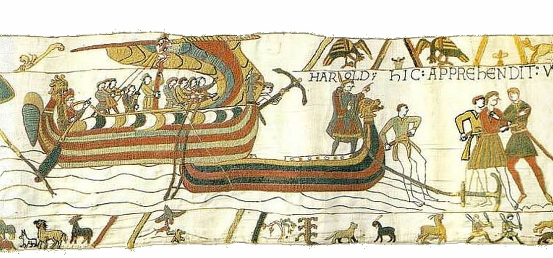 Viking ships on the Normandy coast. Scene from the Bayeux tapestry.