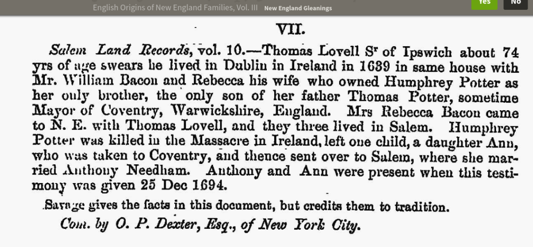English Origins of New England Families