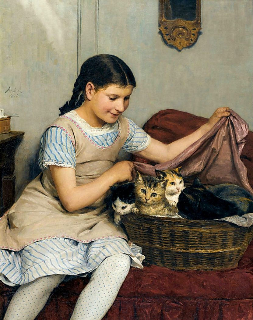 Albert-Anker- girls with kittens in basket 1862