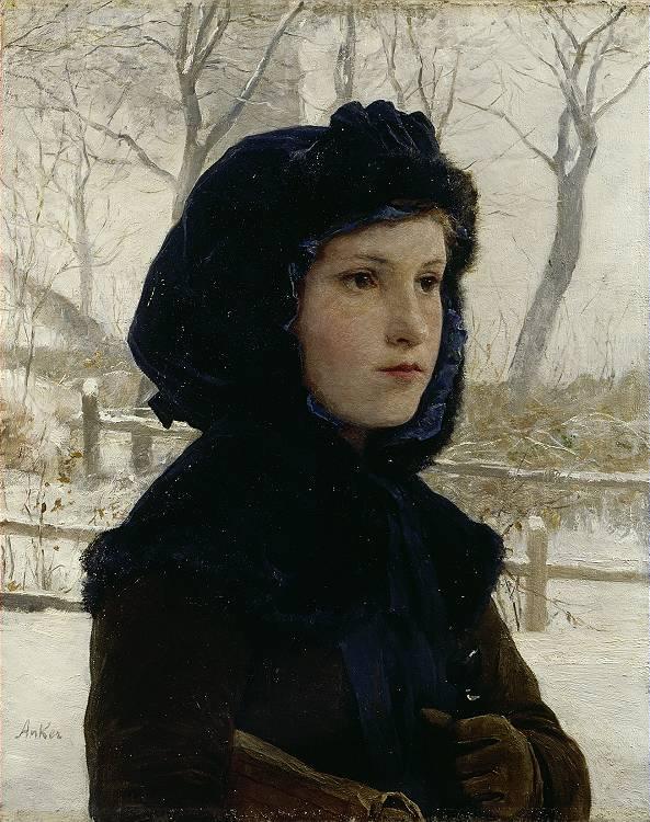 Brustbild eines Mädchens in schwarzer Kapuze