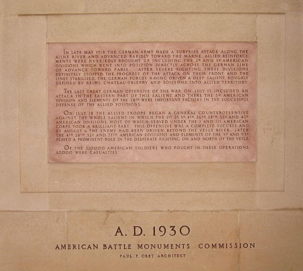 Monument Américain de Château-Thierry : résumé de la bataille en Anglais