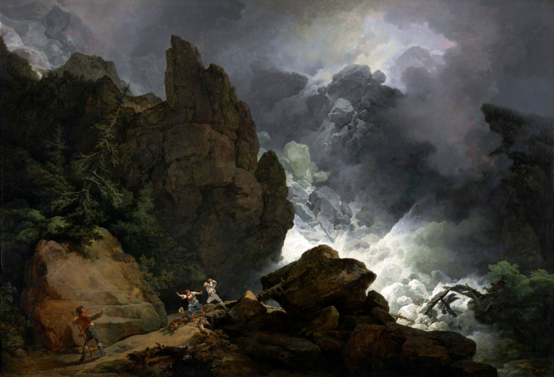 An Avalanche in the Alps 1803 by Philip James De Loutherbourg 1740-1812
