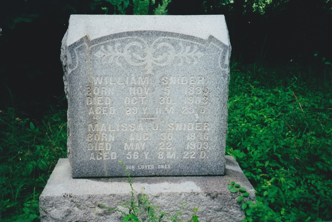 Grave marker William and Malissa Snider.jpg