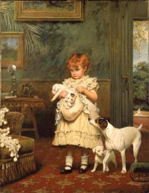 charles-burton-barber-girl-with-dogs